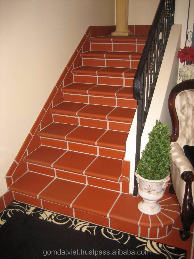 Best selling terracotta anti-slip step tiles for stairs, hot sale building materials, gomdatviet terracotta tiles