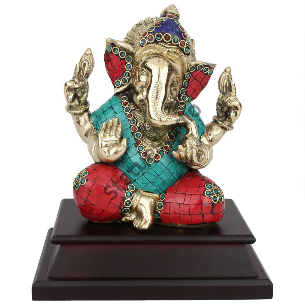 Lord Ganpati Ganesh Wedding Diwali Corporate Gift On Wooden Base Inlay Statue 7""