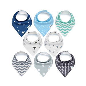 OEM Supply 100% Organic Cotton Customized Unisex Baby Bandana Bibs