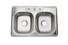 "32"" Pressed Top Mount Equal Bowl Stainless Steel Drop-In Kitchen Sink"
