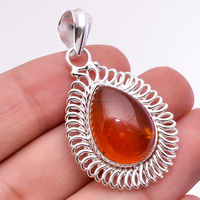 925 Sterling Silver Baltic Amber Orange Pear shape Amber Pendant