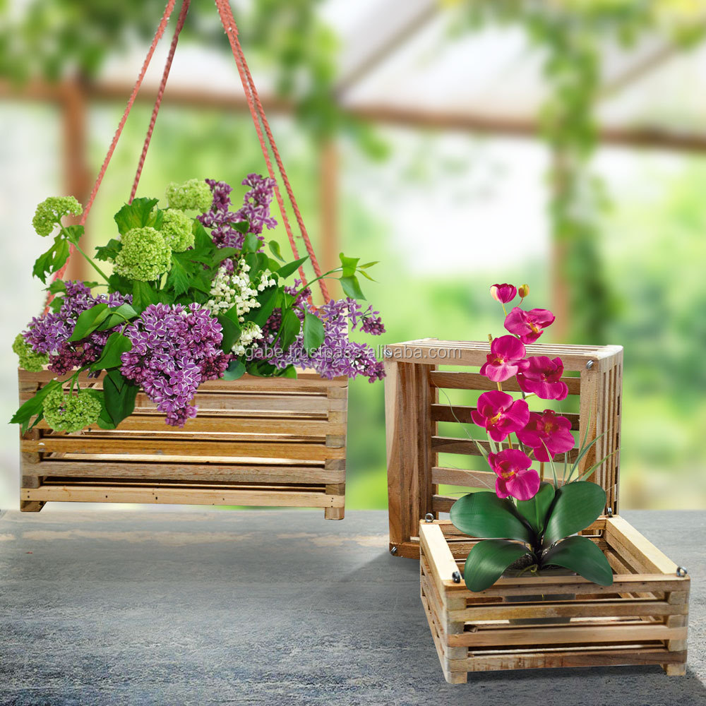 Wooden pots ORCHIDS NEW natural teak wood furniture set of 3, indonesia wooden pot decoration, wooden pot teak wood
