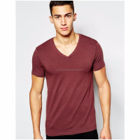 Fashion OEM New Arrivals Plain Slim Fit V Neck T Shirts Men/95 Cotton 5 Spandex Short Sleeve Plain V Neck t-shirt