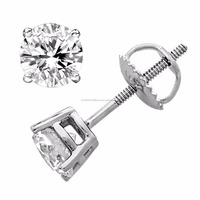 14K White Gold Stud Earrings with Round Diamond 0.40Ctw