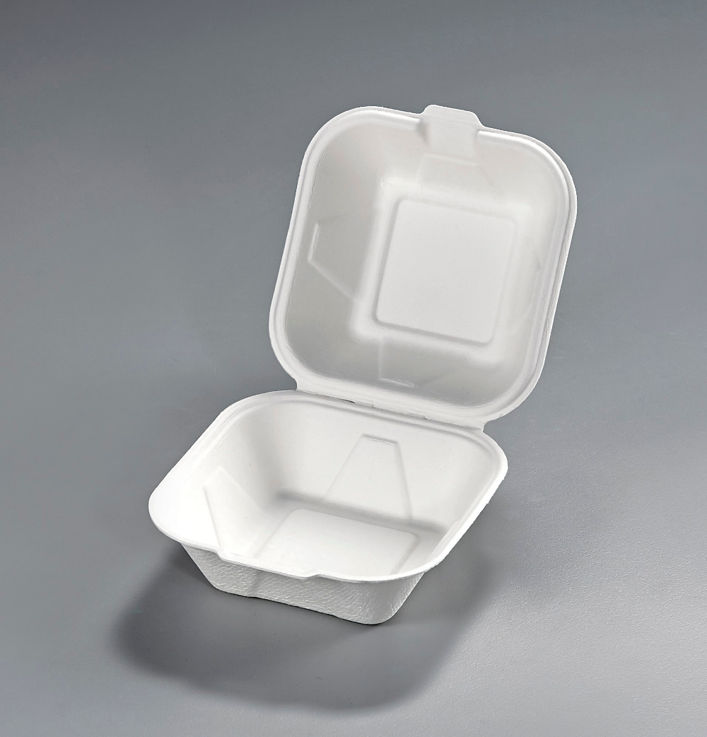 Sugarcane bagasse 6 inch disposable clamshell hamburger box