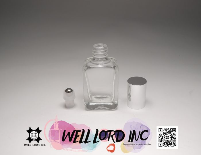 High quality 7ml purple perfume oil silver cap  on glass bottles roll