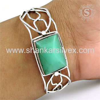 New design filigree silver bangle chrysoprase gemstone 925 sterling silver jewelry wholesaler