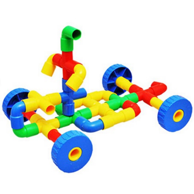 Innovative Happy Colourful Puzzle Pipe Plastic Construction Toys (64 pcs) with container