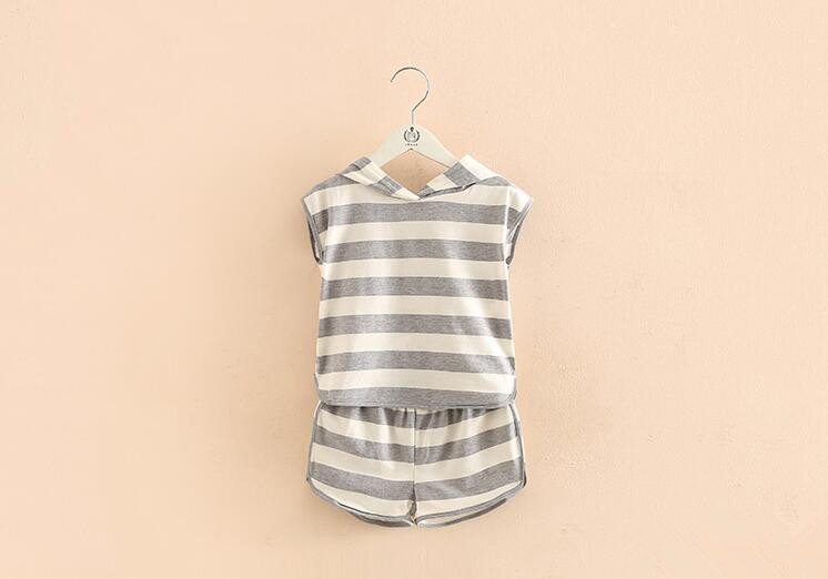Cotton baby and kids clothing sets grey and white stripe short sleeve for summer