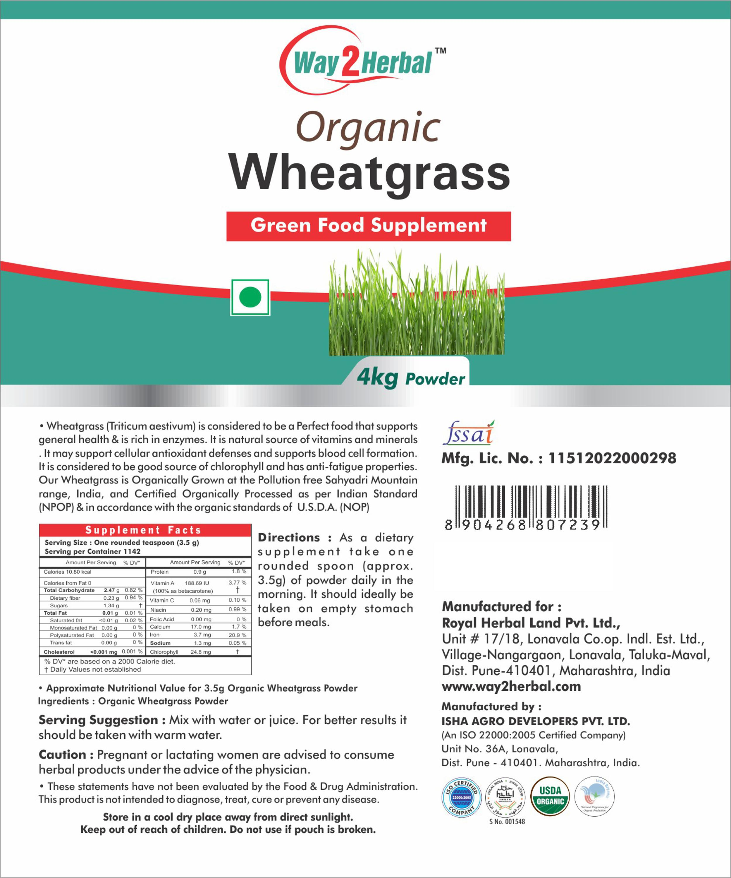 Way2Herbal Farm Fresh Wheatgrass Powder Organically certified by USDA, NOP & NPOP - Natural and Pure - 4 kg pouch pack