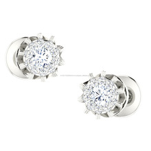 Top Selling 18kt White Gold And Natural Diamond Presure Setting Stud Earring