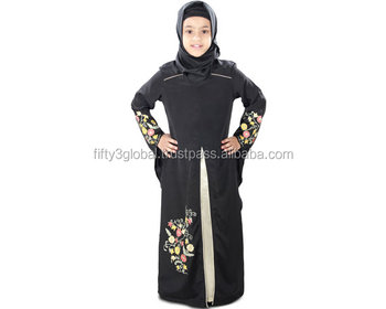 Black Beautifull Hand Embroidery Muslim Baby Girls Party Designs