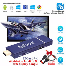 Ezcast 4 K mundial 1st 4 k x 2 K WiFi pantalla <span class=keywords><strong>dongle</strong></span> 2.4g/5g HDMI media Streaming stick miracast AirPlay DLNA