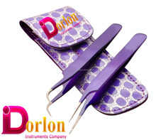 2pcs Color Coated Stainless Steel tweezer Straight and Curved Head Tweezers with Leather Case for Eyelash Extension