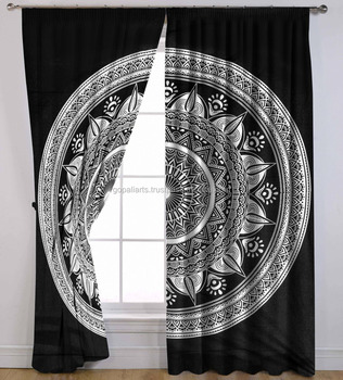 designs of curtains in Indian Handmade Ombre Mandala Bohemian Cotton curtains for the Tapestry Drapes Window Treatment Valance