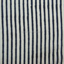 Strip print blue color Hand Block print fabric