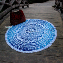 Yoga Mat Boho chic Floral printed round beach blanket cotton beach towel with tassel or fringe