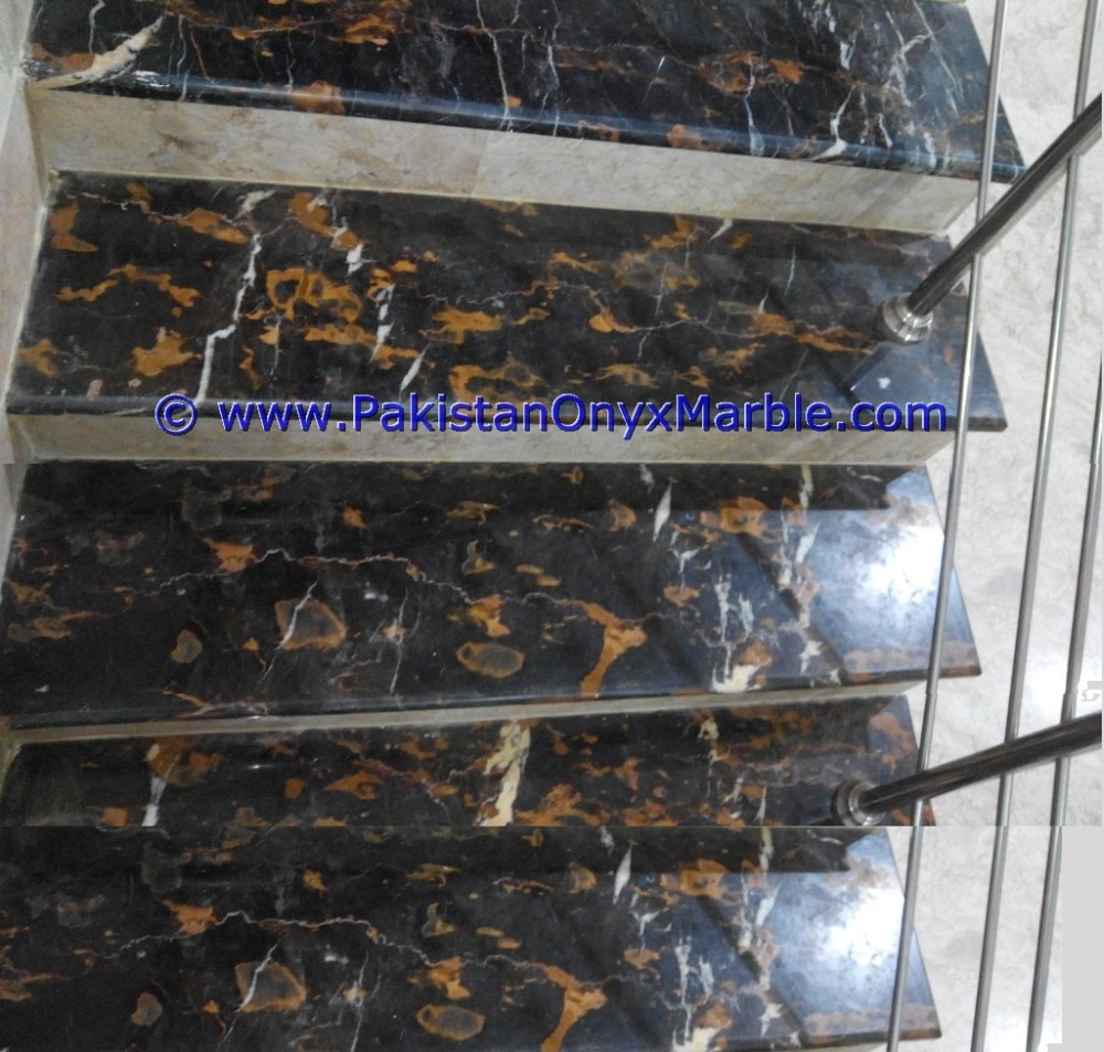 MARBLE STAIRS STEPS RISERS BLACK AND GOLD MARBLE MODERN DESIGN HOME OFFICE DECOR NATURAL MARBLE STAIRS