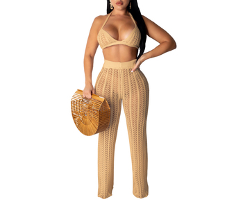 Wholesale crochet knit clothing women two piece bra and pants set