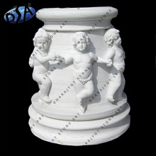 pure white marble flower planter with angle statue