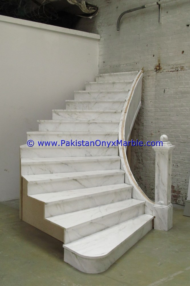 Modern Interior marble stairs steps risers Ziarat White Carrara marble modern design home office decor natural marble stairs