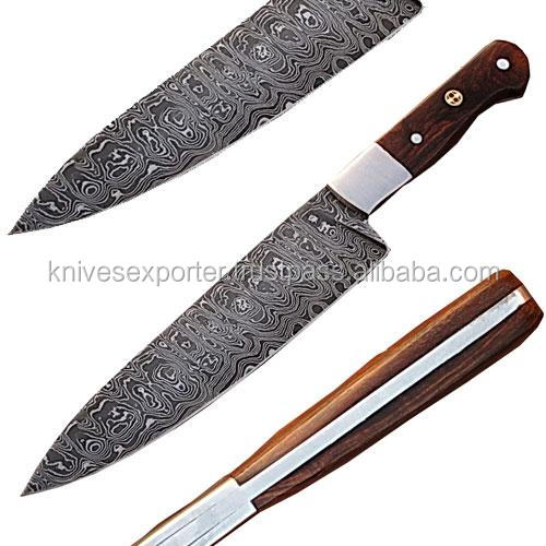 Custom Hand Forged Damascus Steel Kitchen / Chef Knife with Wooden Handle