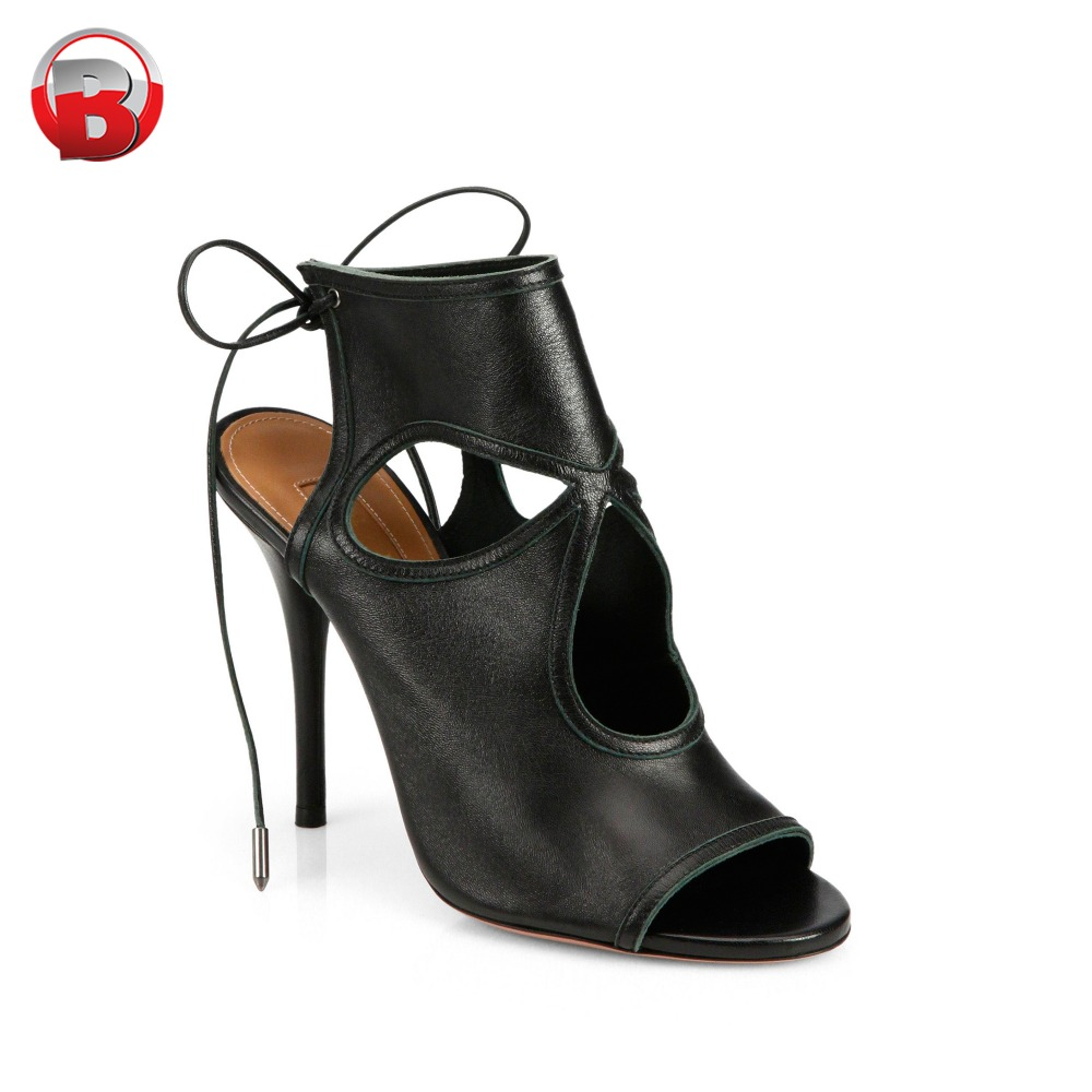 Black genuine leather ladies heel sexy sandals