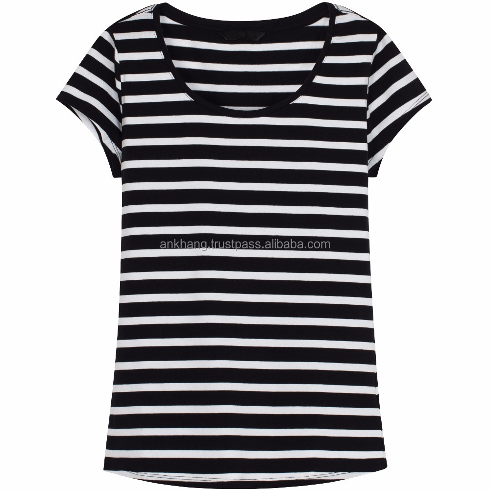Newly stripe short sleeve t shirt for girls