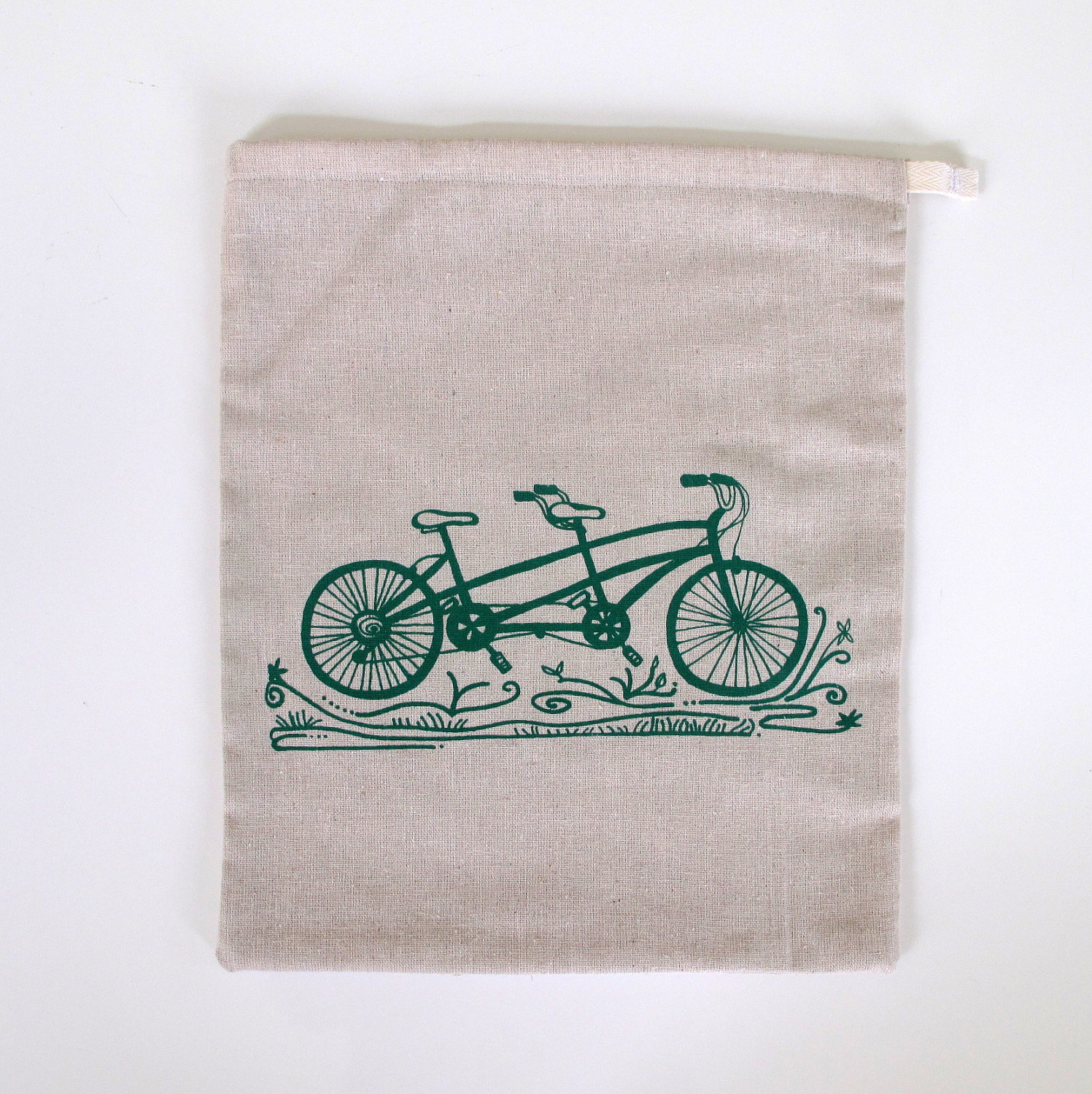 Natural linen drawstring custom logo gift drawstring produce bag