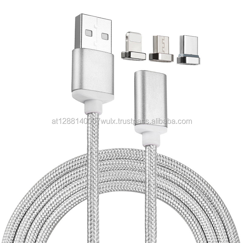 Nylon 3 in 1 Braided USB Charging Cable Magnetic Adapter Micro USB Type-C Head Charger For iPhone Android and USB 3.1 Type C