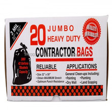 Recyclable Black Garbage Bags / Trash Bag /Heavy Duty disposable Contractor bags