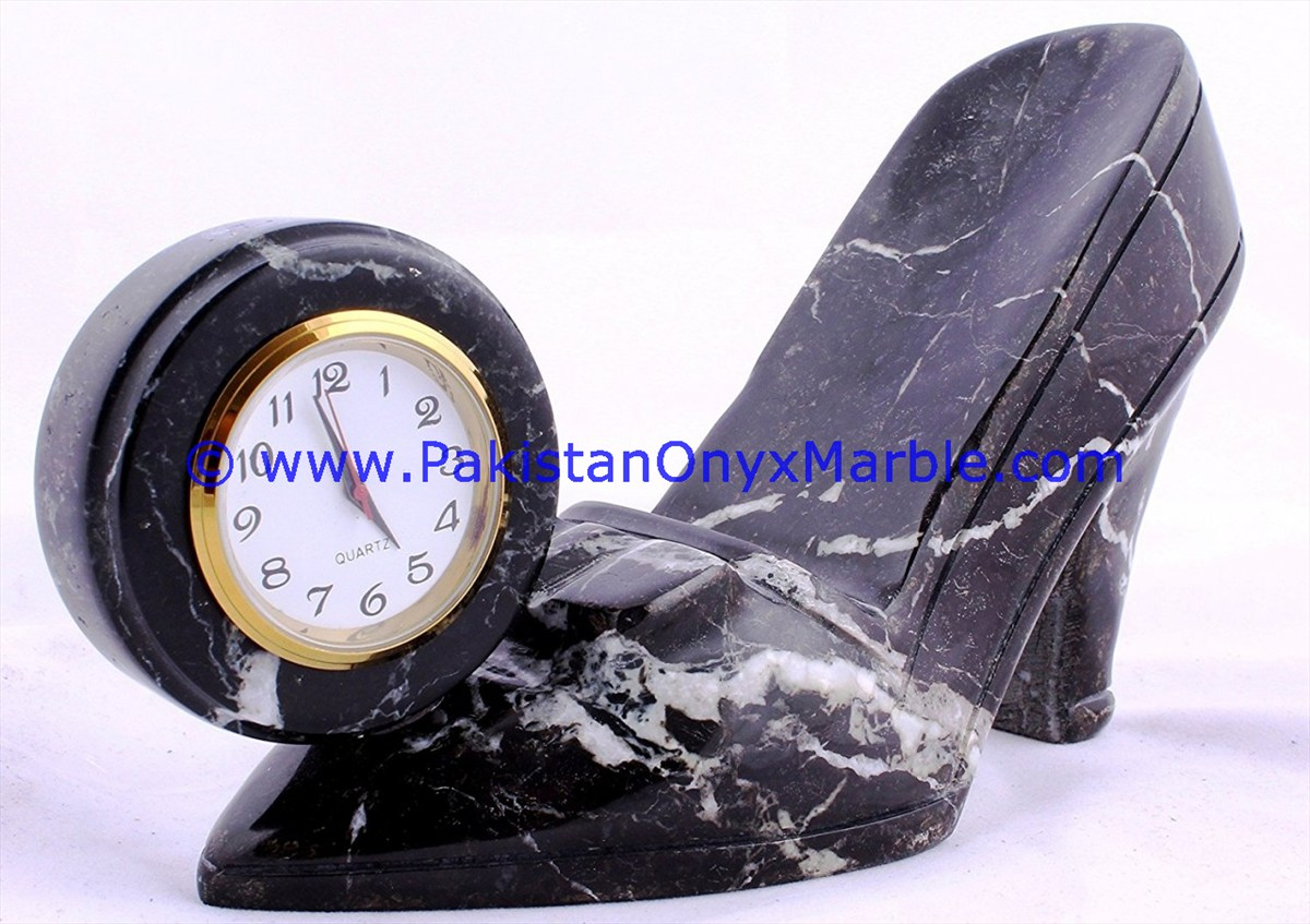 Hand Carving marble clocks shoe boot shape handcarved natural stone clock desk shelf office home decor gifts