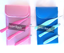 3pcs Hot Pink & blue Slanted & Fine Point Eyebrow With Traveling Case