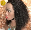 Pearlcoin Black Women Virgin Cuticle Aligned Hair Brazilian Remy Human Hair Hand-tied Kinky Curly Hair 130% Lace Front Wig 13*6