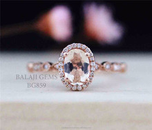 Anniversary Ring Rose Gold Plated 925 Sterling Silver Natural Morganite Gemstone Ring