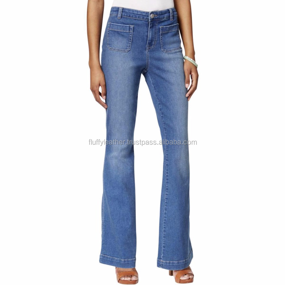Womens Blue Denim Stretch Medium Wash Jeans