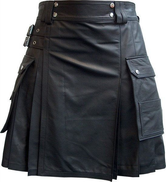 Black Premium Quality Leather Men's Utility Kilt