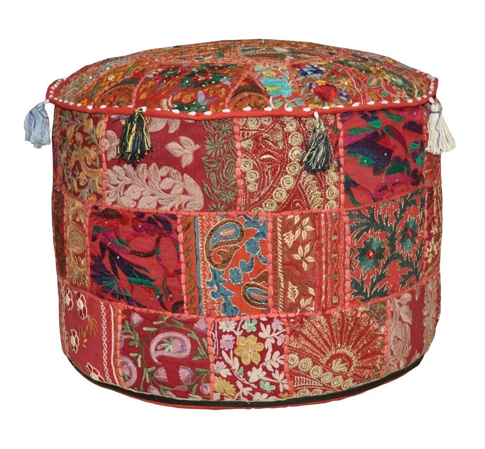Indian Handmade Antique Pouf Cover Cotton Patchwork Sitting Ottoman Pouf