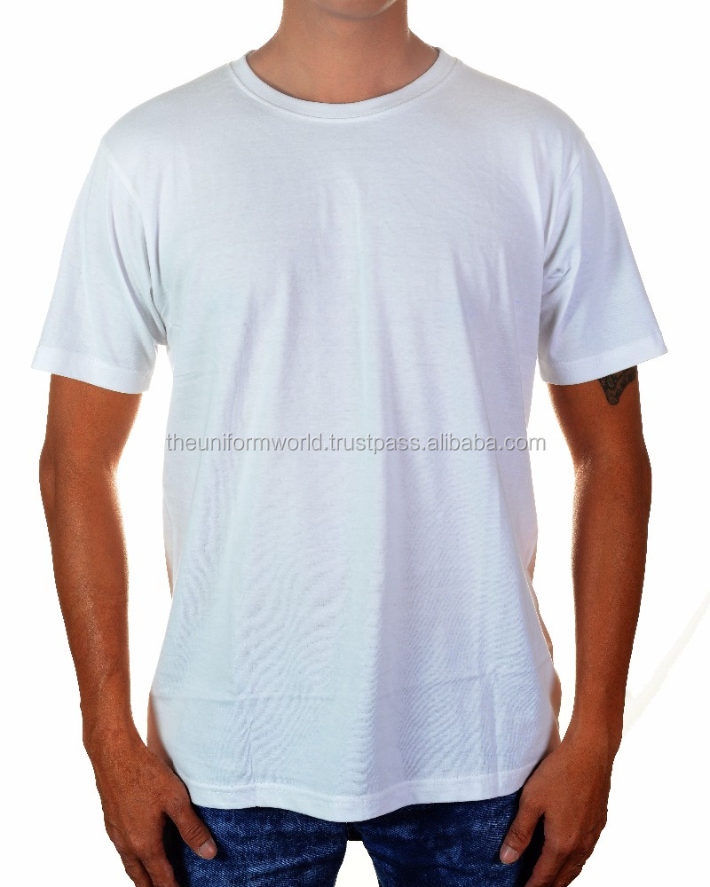 100% Cotton Round Neck T Shirt Plain Blank White Unisex, Men and Women Fitting Work Wear Promotional Item