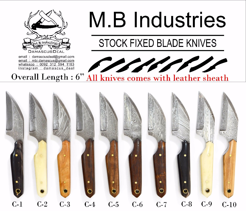 C Series Damascus Steel Knives in Variety of Handle Materials