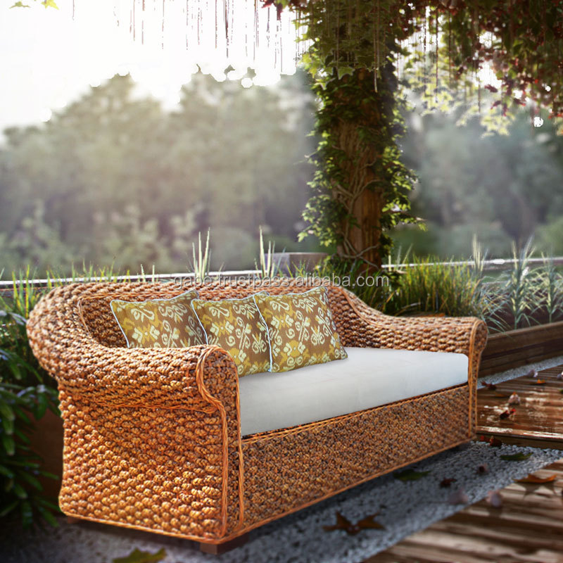 Sofa bench CURVE classic natural waterhyacinth rattan furniture, natural rattan furniture, indonesian rattan furniture outdoor