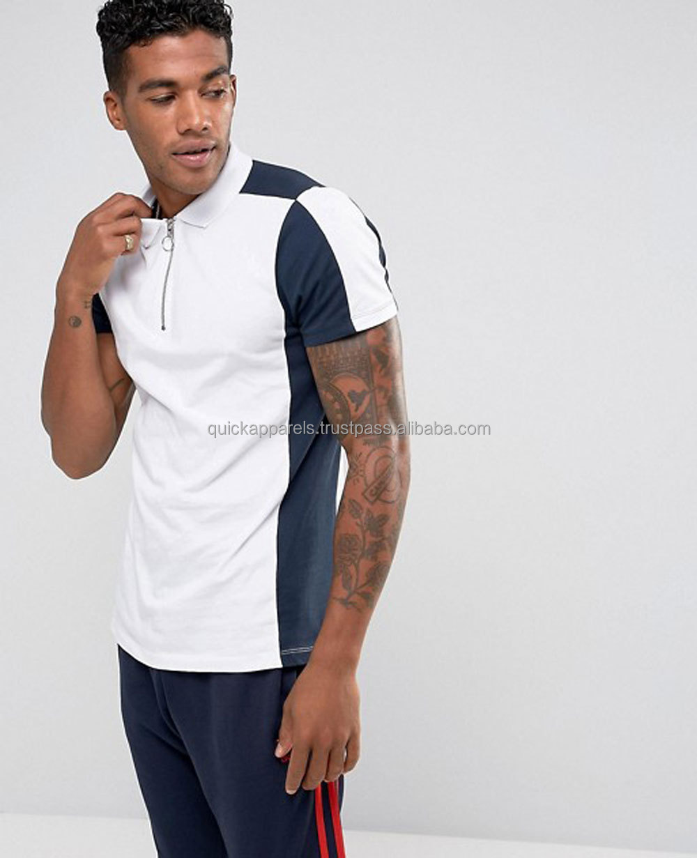 2018 cheap wholesale Custom Plain color Mens Polo Shirts 100% Cotton/Polo Shirt With Contrast Panelling And Zip Neck In White