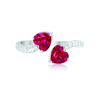 Best Seller High Quality 925 Sterling Silver Jewelry Heart Created Ruby CZ Synthetic Diamond Open Ring for Woman Gift