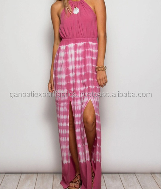 New Rose Tie Dye Sleeveless Halter Long Maxi