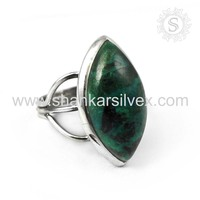 Antique design chrysocolla gemstone silver rings 925 sterling silver ring jewellery jaipur wholesale supplier