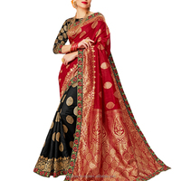 Evergreen Combination In This Beautiful Red And Black Color Saree.
