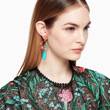 AP38061 Wholesale custom enamel flower crystal bird drop earrings