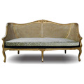 Indonesia Mahogany Furniture : Classic Gold Sofa Combination Wood and Rattan Furniture Style