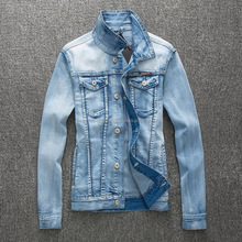 Stretch Light Blue Denim Jacket Men Fashion Slim Fit Korean Style Denim Men's Vintage Jeans Jacket