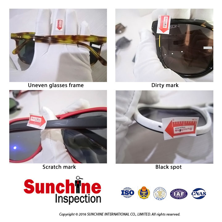 Sunglasses Final Quality Inspection Service in China / Third Party Quality Inspection with certifications AQSIQ and CNAS 17020